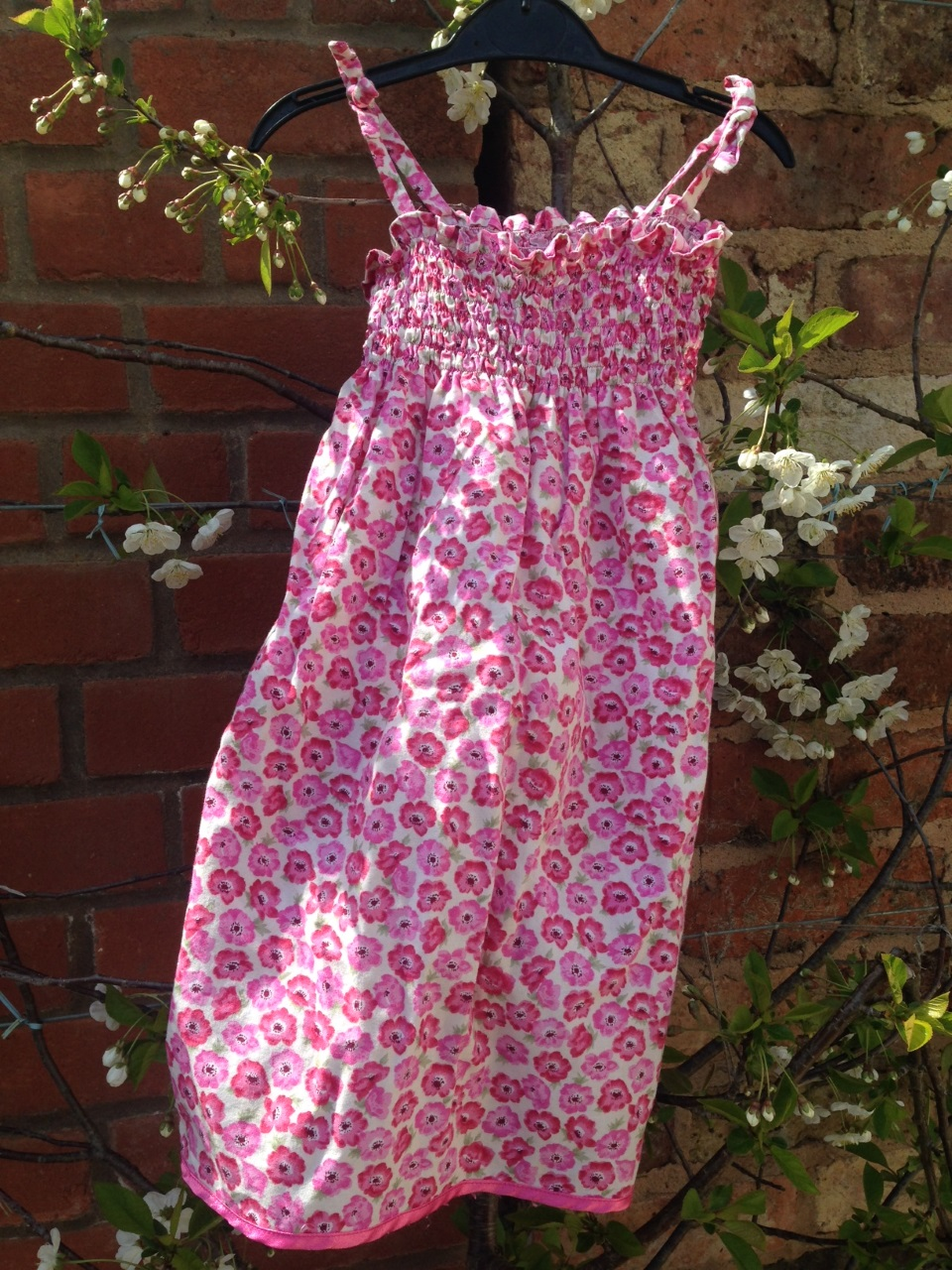 Pink Floral Shirred Dress