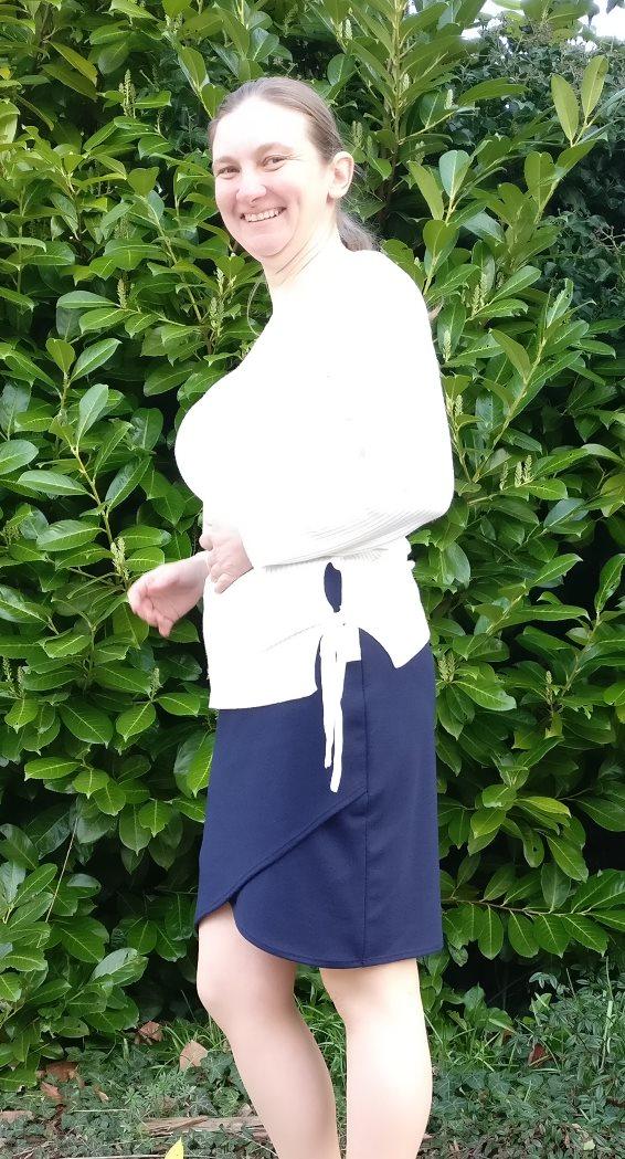Navy Ponte Lindy Petal Skirt