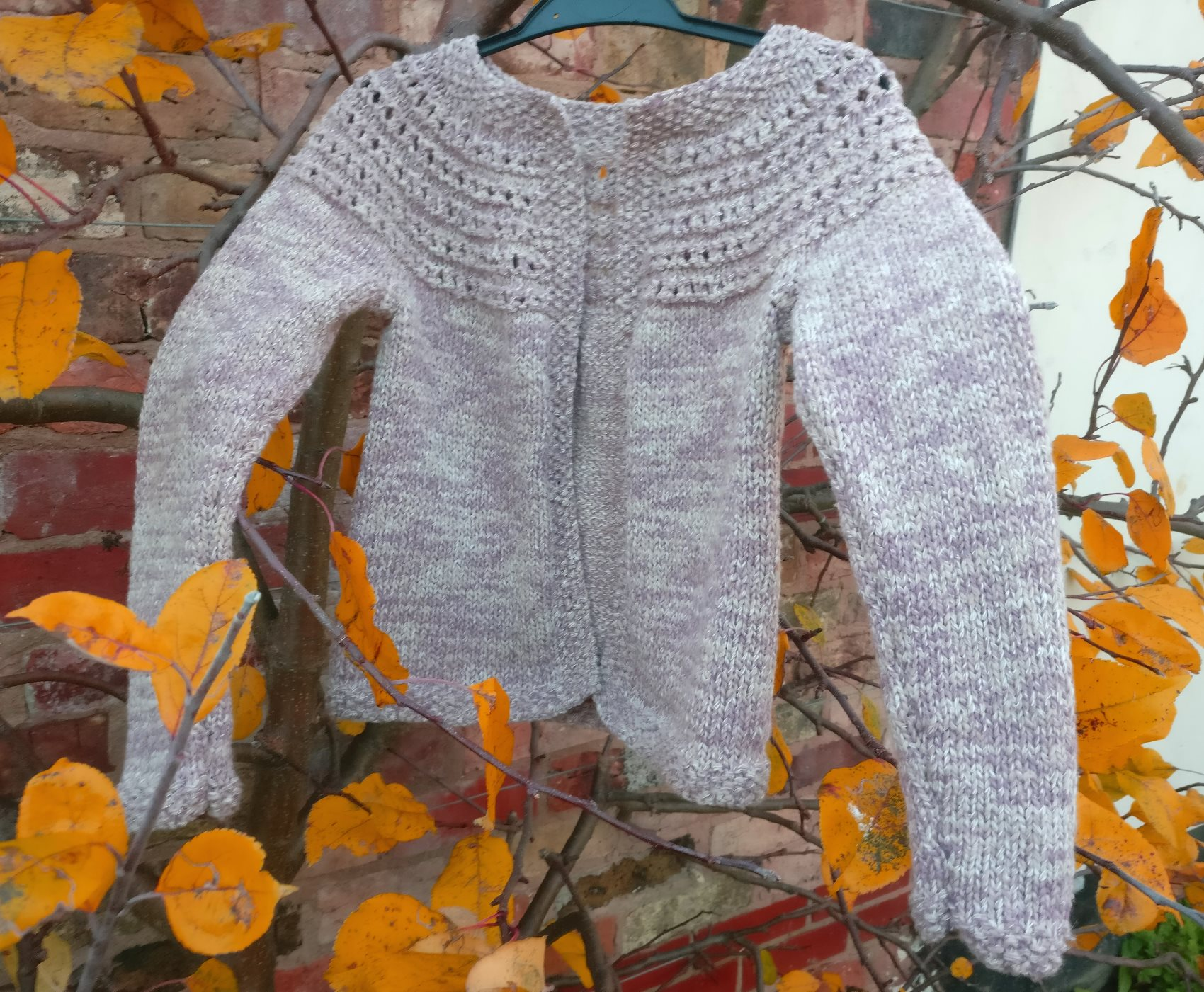 Girls Eyelet Yoke Cardigan